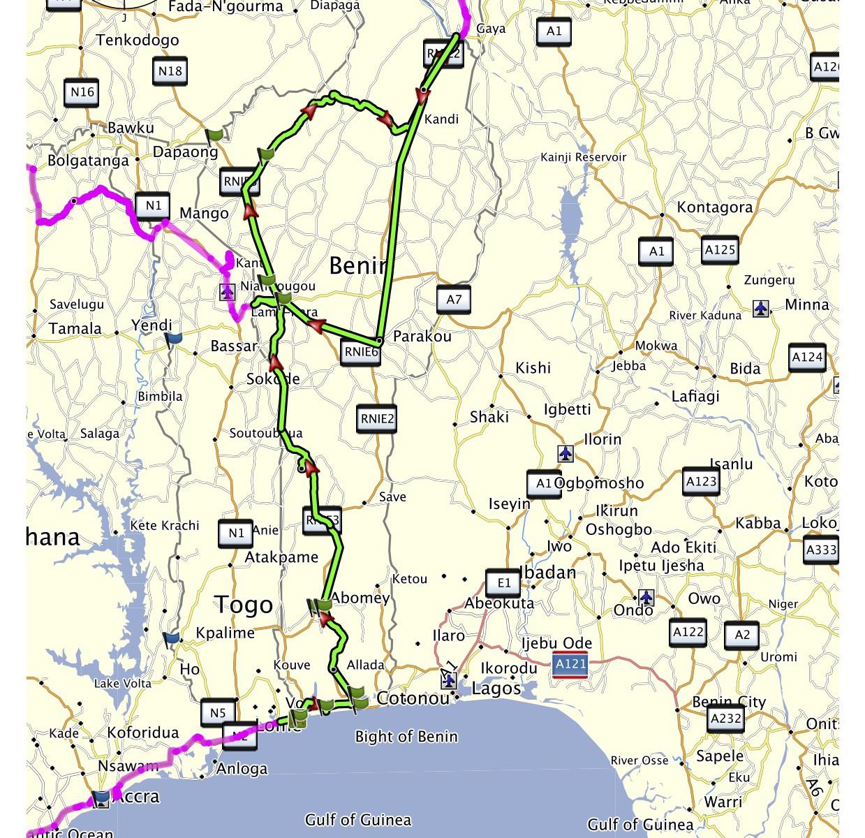 Benin projetá trasa