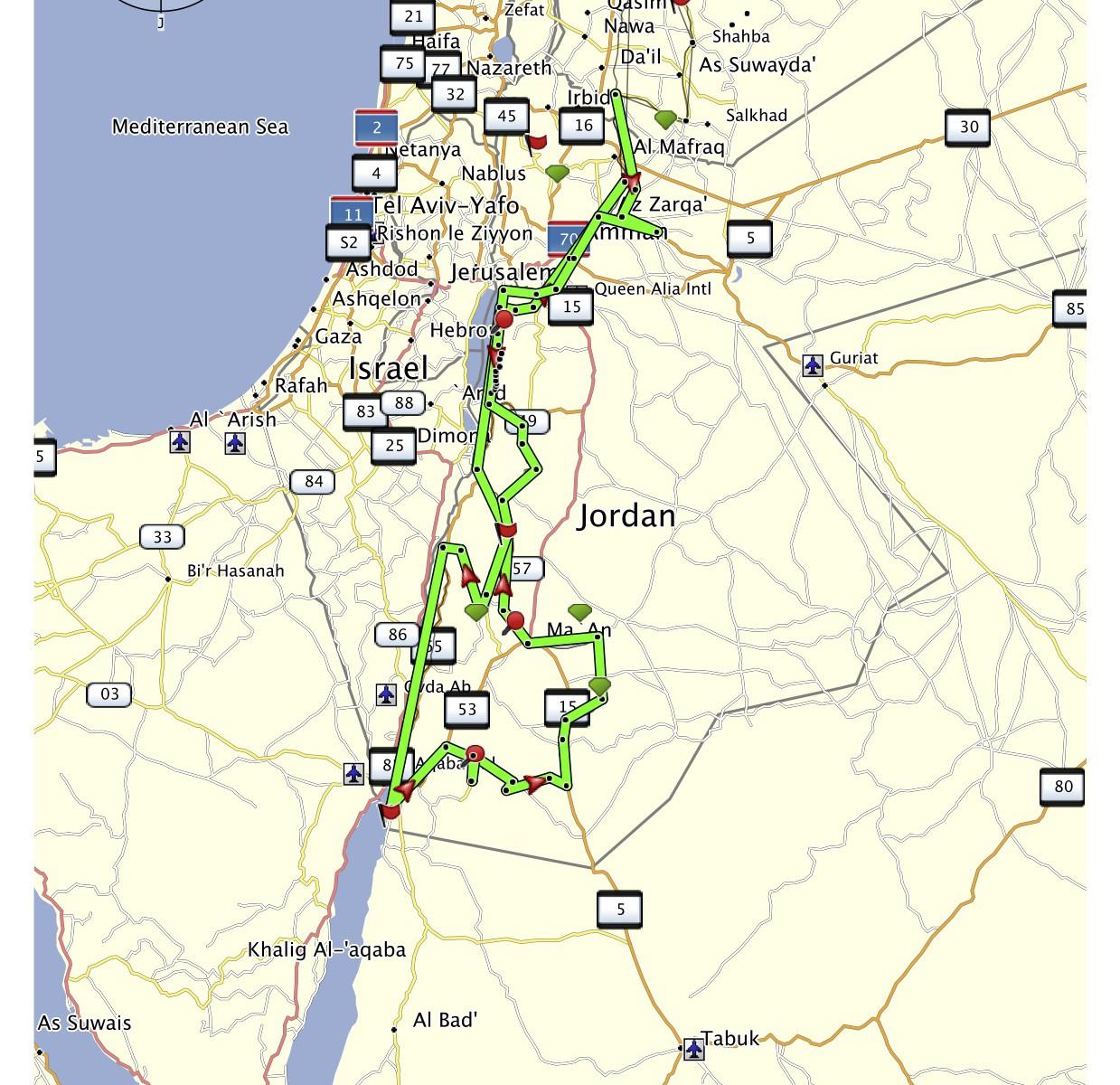 Jordánsko projetá trasa