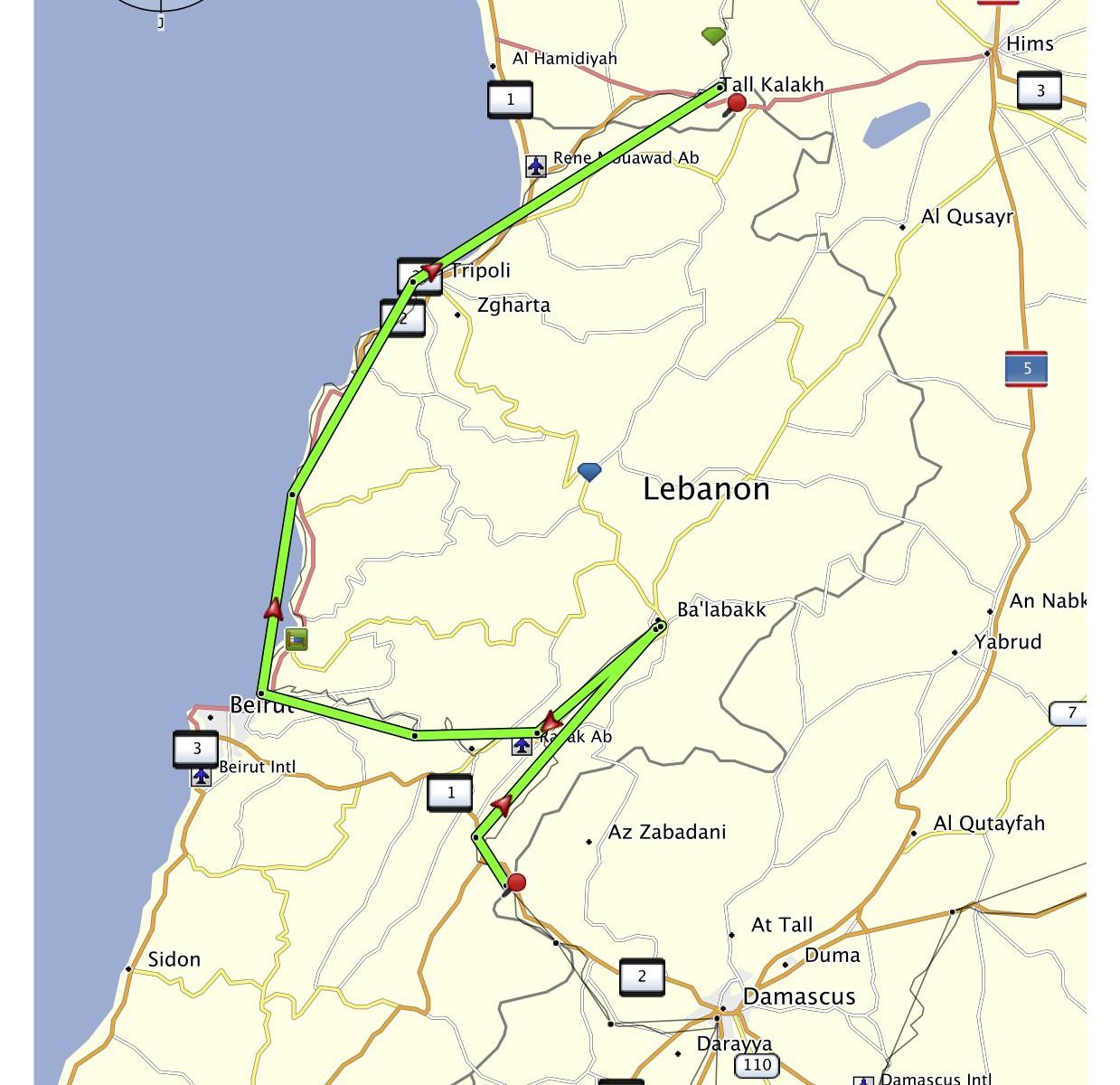 Libanon projetá trasa