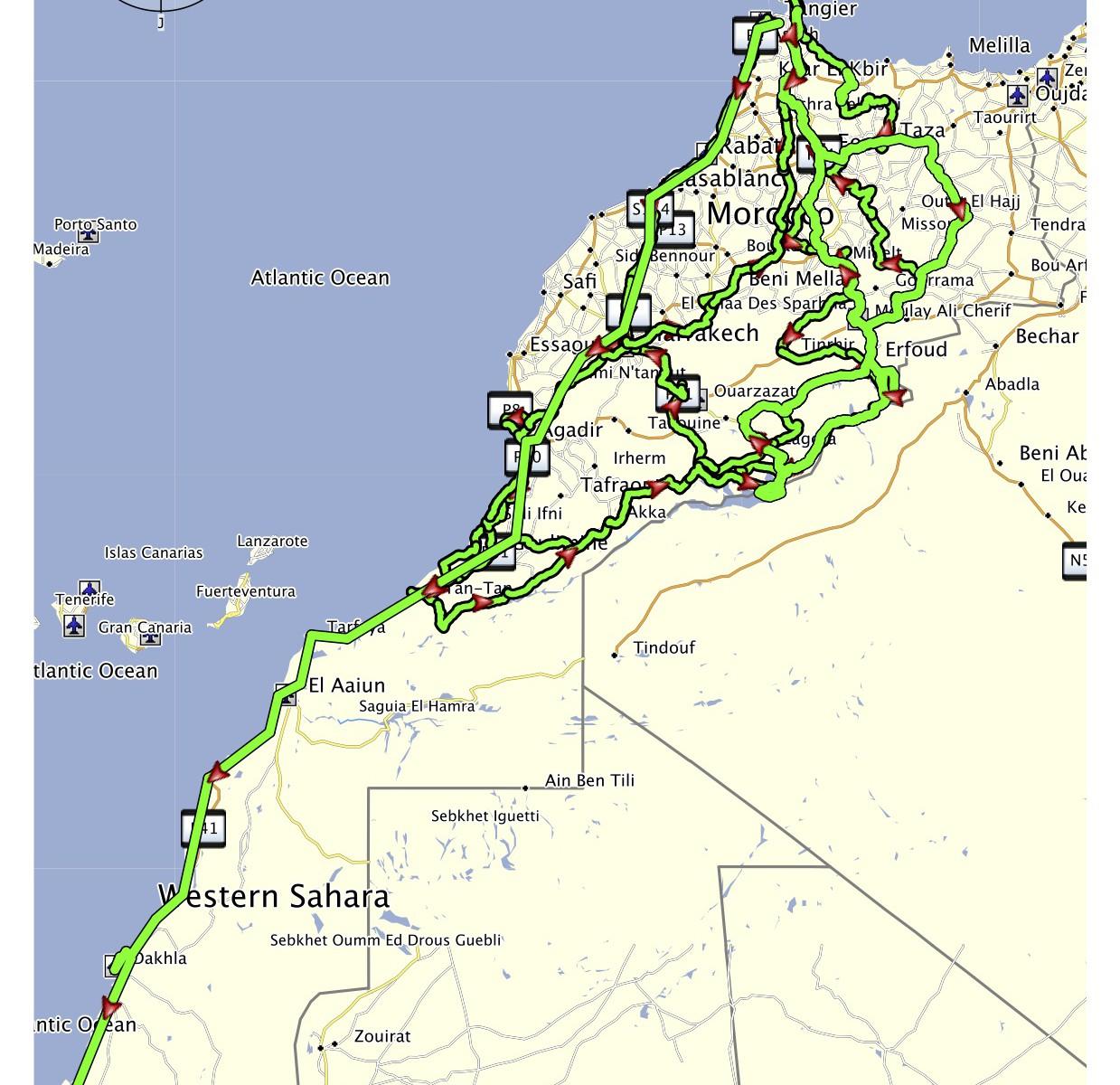 Maroko projeté trasy