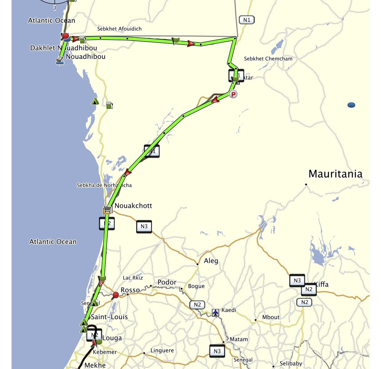 Mauretánie projetá trasa
