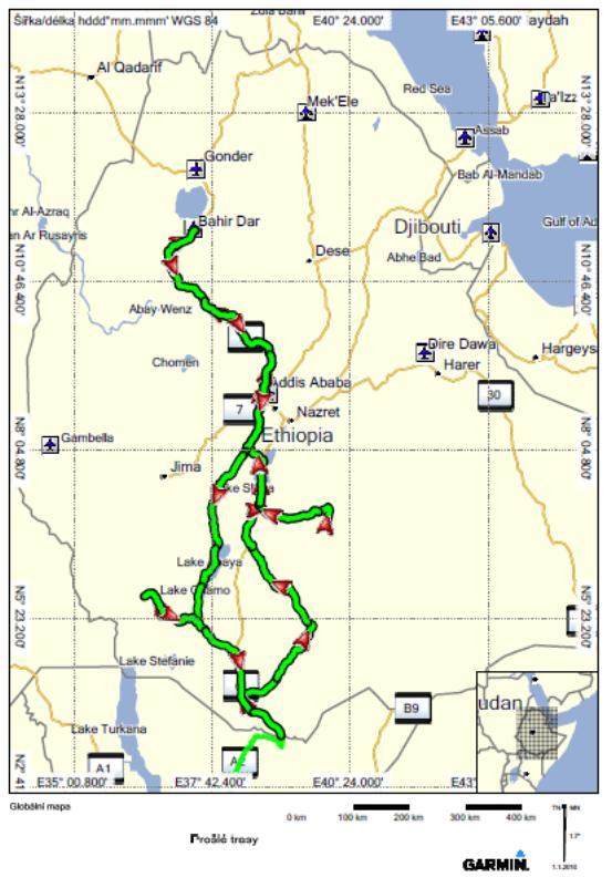 Etiopie projetá trasa