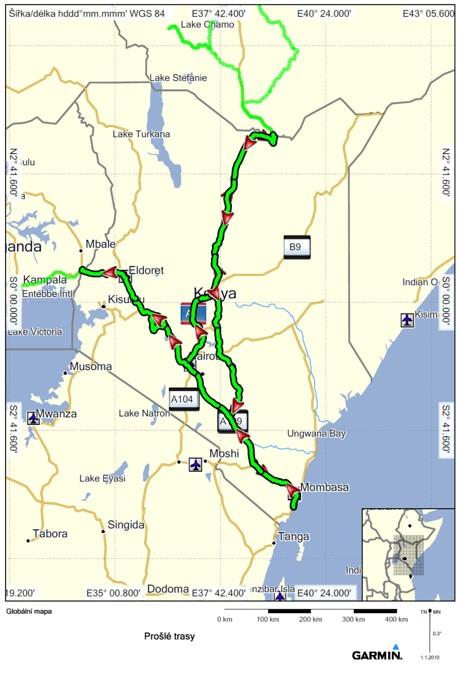 Keňa projetá trasa