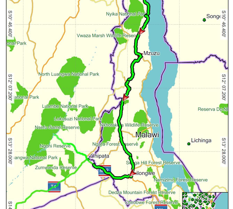 Malawi projetá trasa