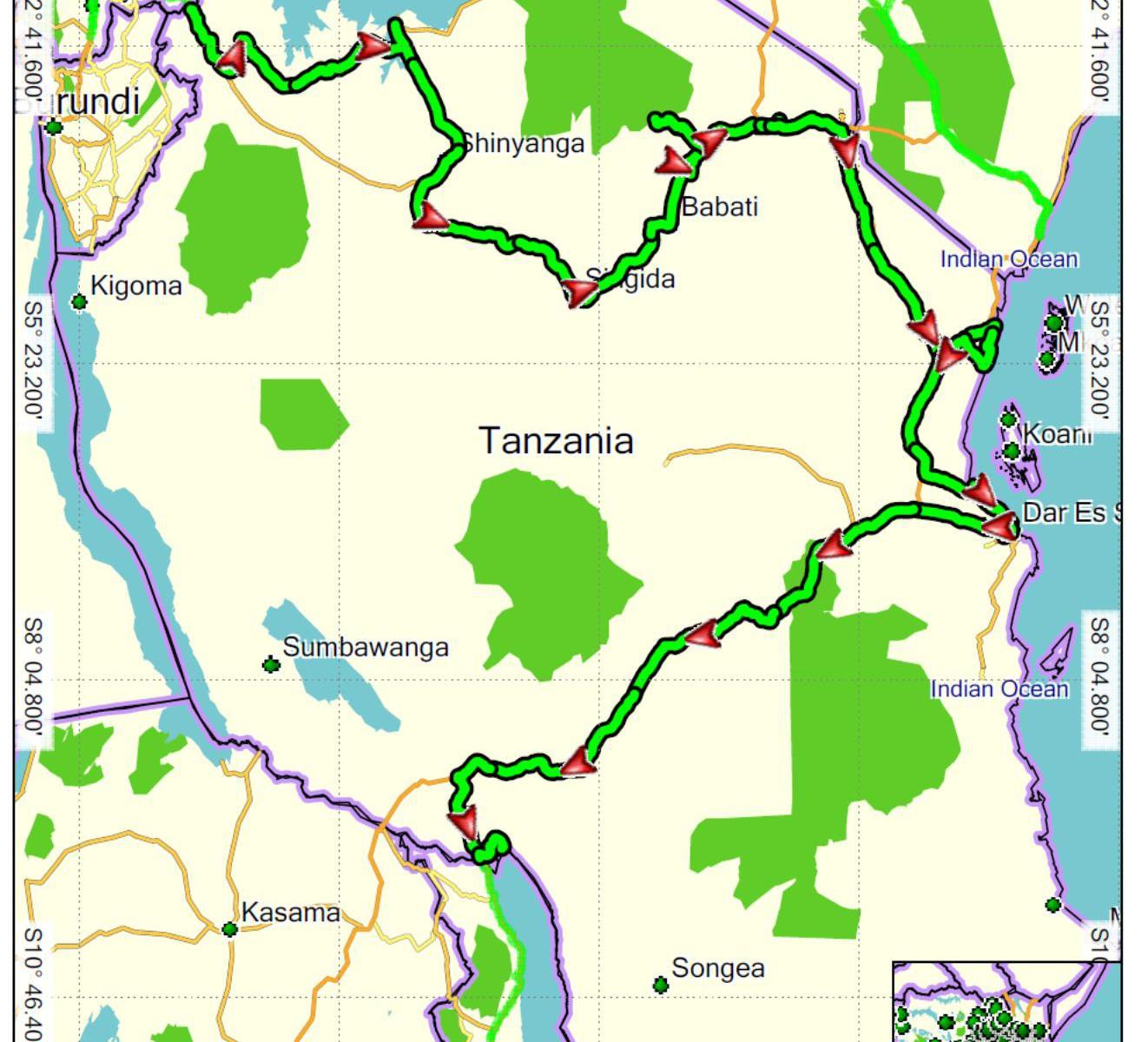 Tanzánie projetá trasa