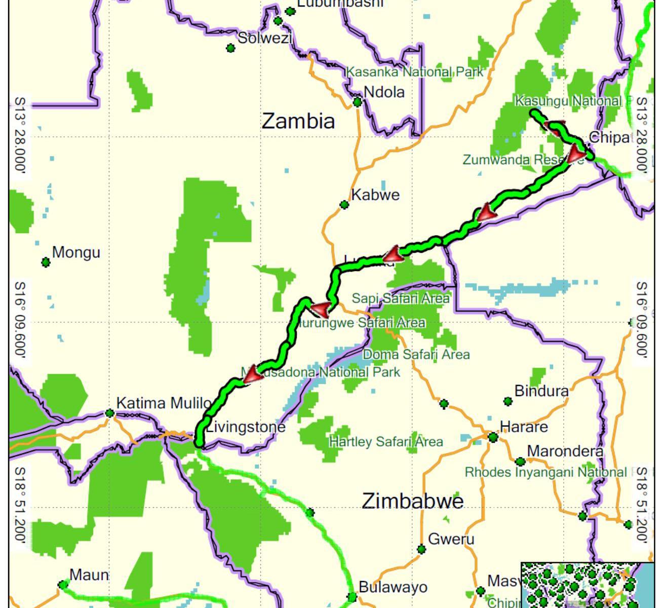 Zambie projetá trasa