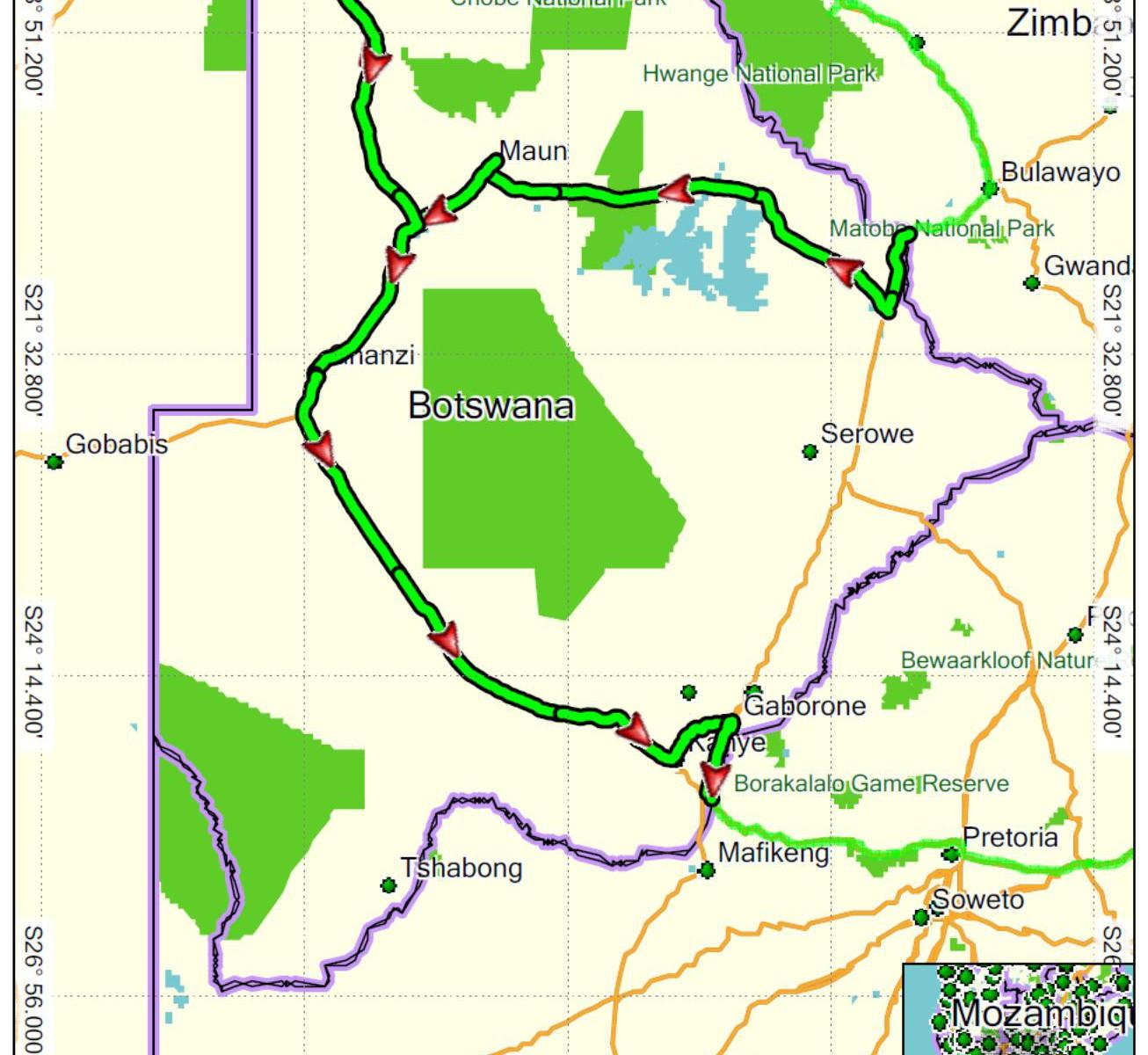 Botswana projetá trasa