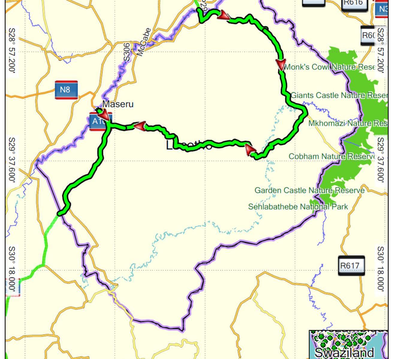 Lesotho projetá trasa