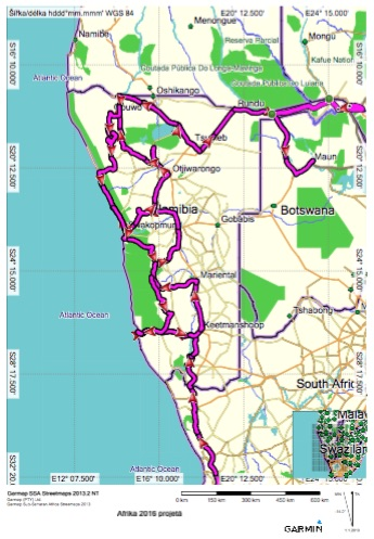 Namibie projetá trasa